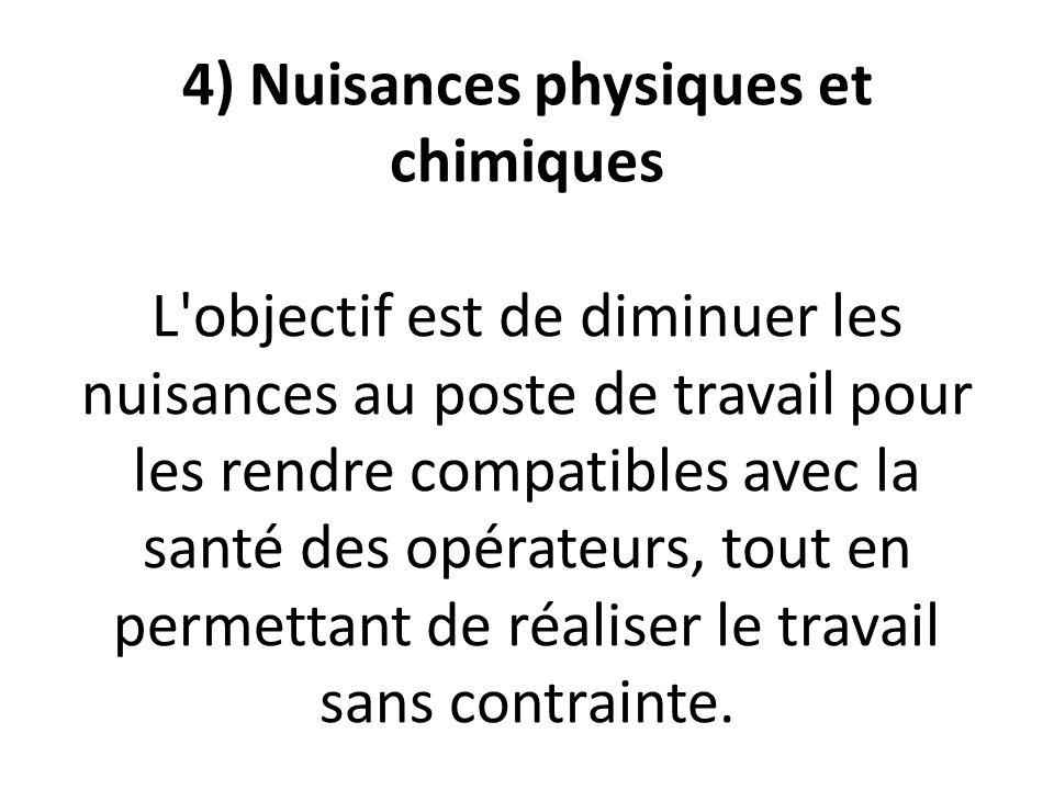 4) Nuisances physiques et chimiques L objectif est de diminuer les nuisances au poste de travail pour les rendre compatibles avec la santé des opérateurs, tout en permettant de réaliser le travail sans contrainte.