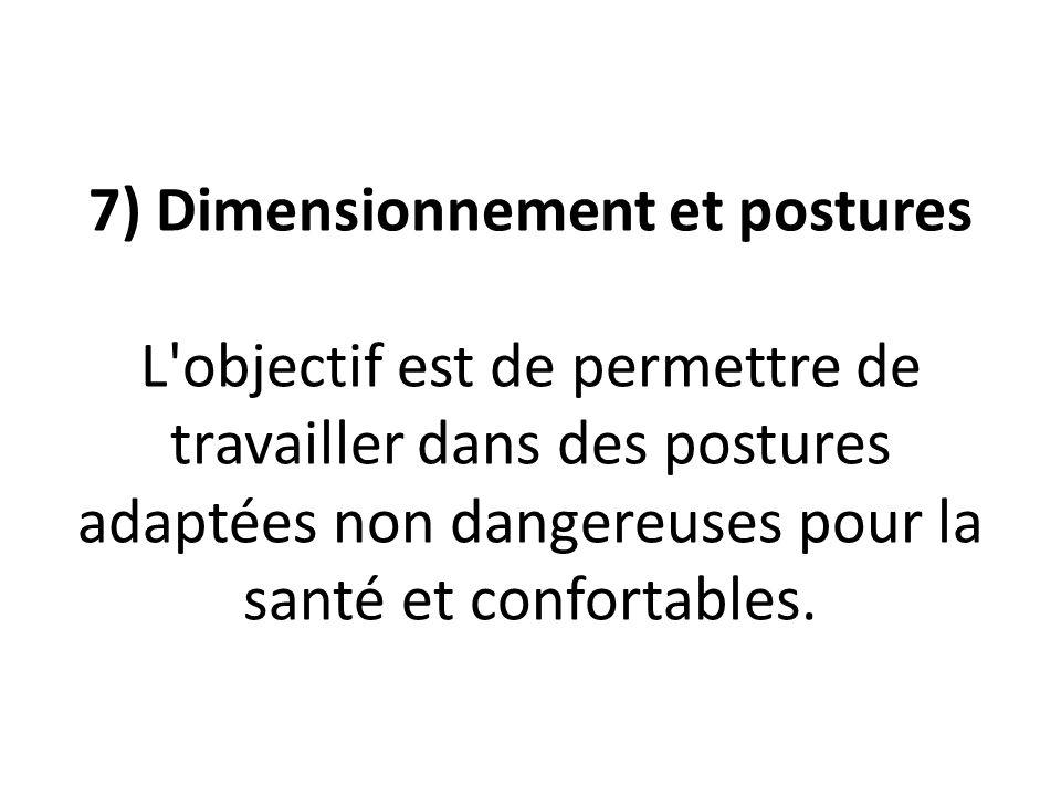 7) Dimensionnement et postures L objectif est de permettre de travailler dans des postures adaptées non dangereuses pour la santé et confortables.