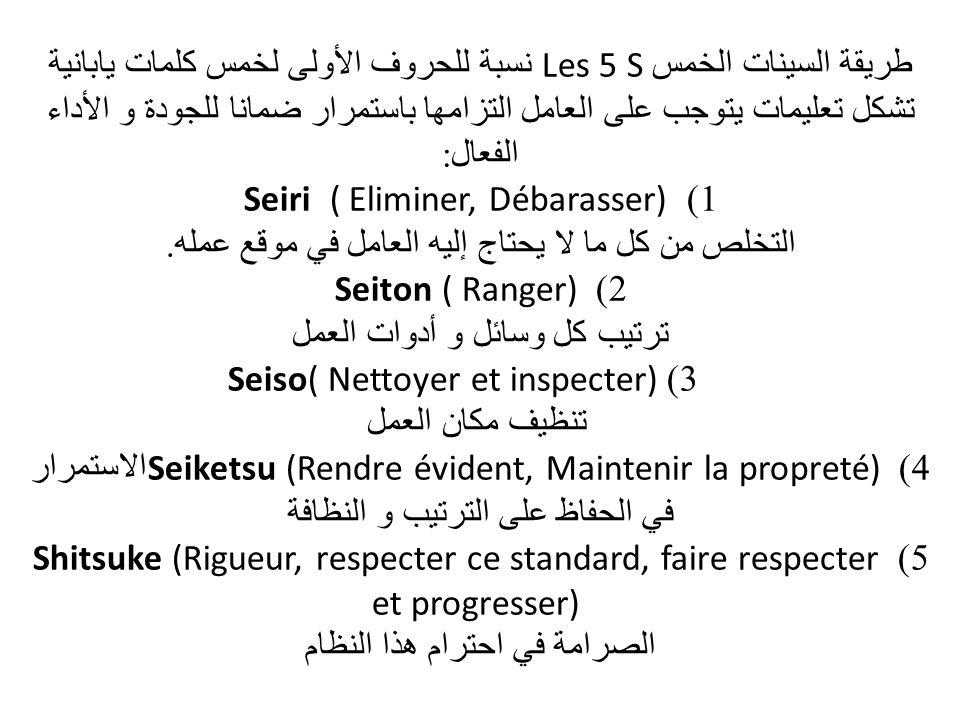 طريقة السينات الخمس Les 5 S نسبة للحروف الأولى لخمس كلمات يابانية تشكل تعليمات يتوجب على العامل التزامها باستمرار ضمانا للجودة و الأداء الفعال: 1) Seiri ( Eliminer, Débarasser) التخلص من كل ما لا يحتاج إليه العامل في موقع عمله.