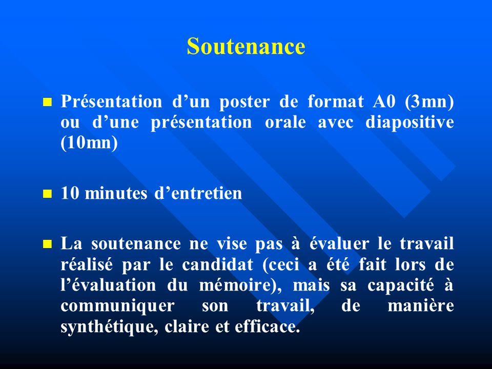 Soutenance Présentation d'un poster de format A0 (3mn) ou d'une présentation orale avec diapositive (10mn)