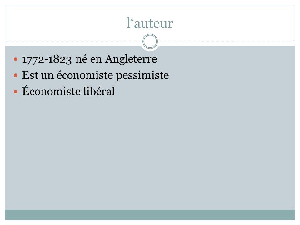 l'auteur 1772-1823 né en Angleterre Est un économiste pessimiste