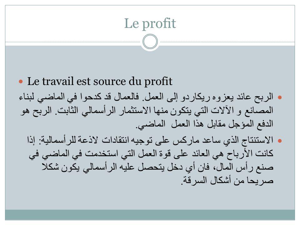 Le profit Le travail est source du profit