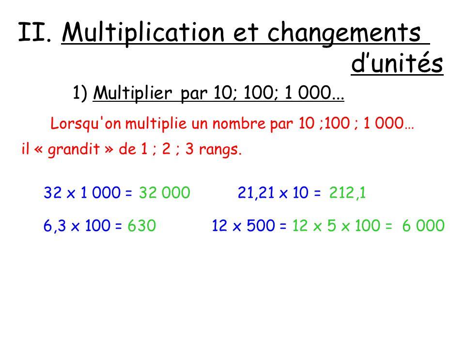 Multiplication et changements d'unités