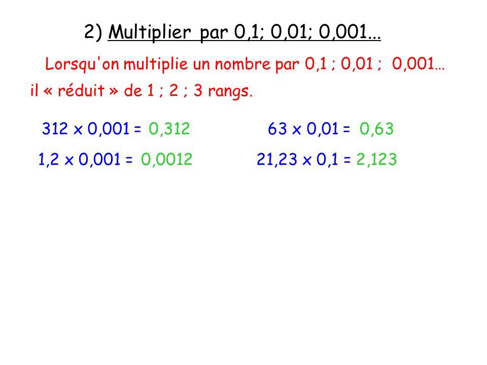 2) Multiplier par 0,1; 0,01; 0,001... Lorsqu on multiplie un nombre par 0,1 ; 0,01 ; 0,001… il « réduit » de 1 ; 2 ; 3 rangs.
