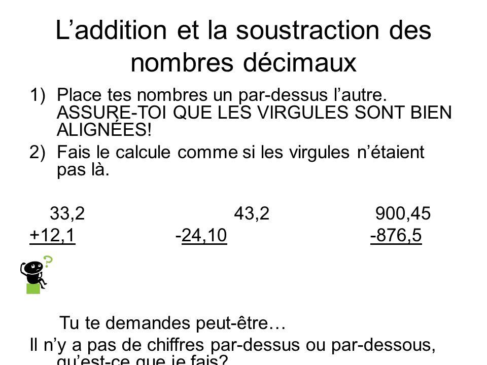 L'addition et la soustraction des nombres décimaux