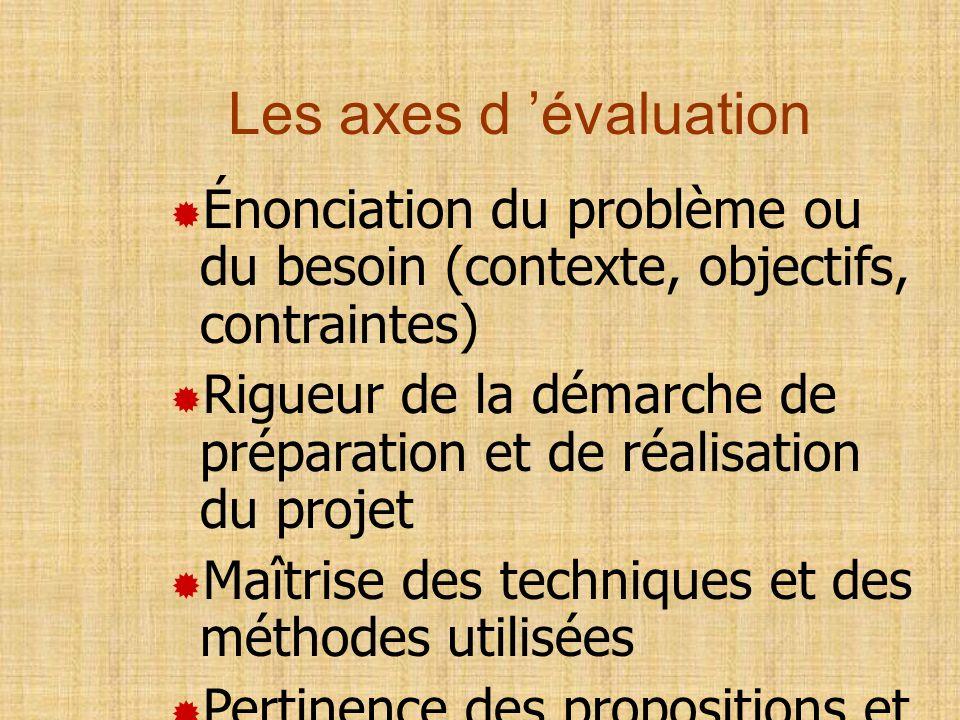 Les axes d 'évaluation Énonciation du problème ou du besoin (contexte, objectifs, contraintes)