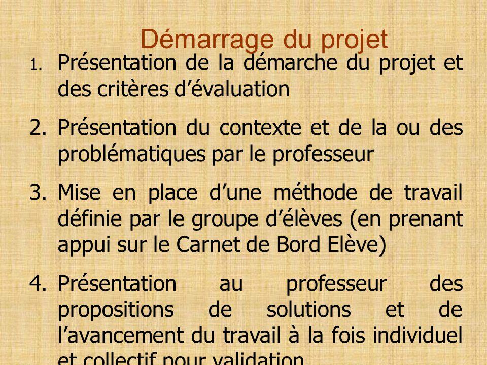 Démarrage du projet 1. Présentation de la démarche du projet et des critères d'évaluation.