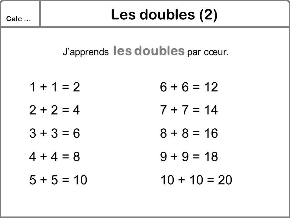 Les doubles (2) 1 + 1 = 2 2 + 2 = 4 3 + 3 = 6 4 + 4 = 8 5 + 5 = 10