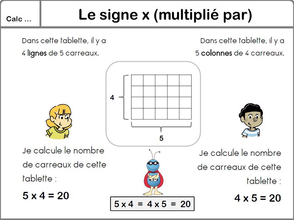 Le signe x (multiplié par)