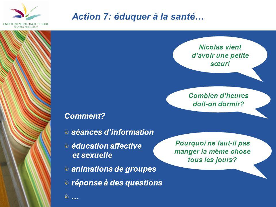 Action 7: éduquer à la santé…