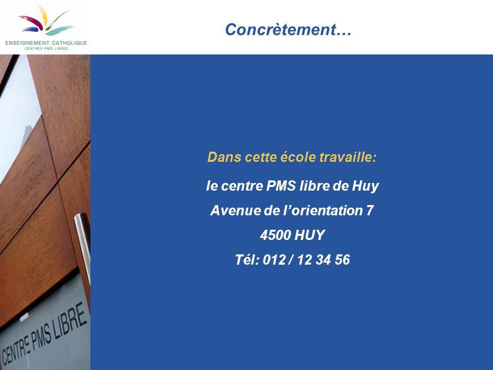 Concrètement… Dans cette école travaille: le centre PMS libre de Huy