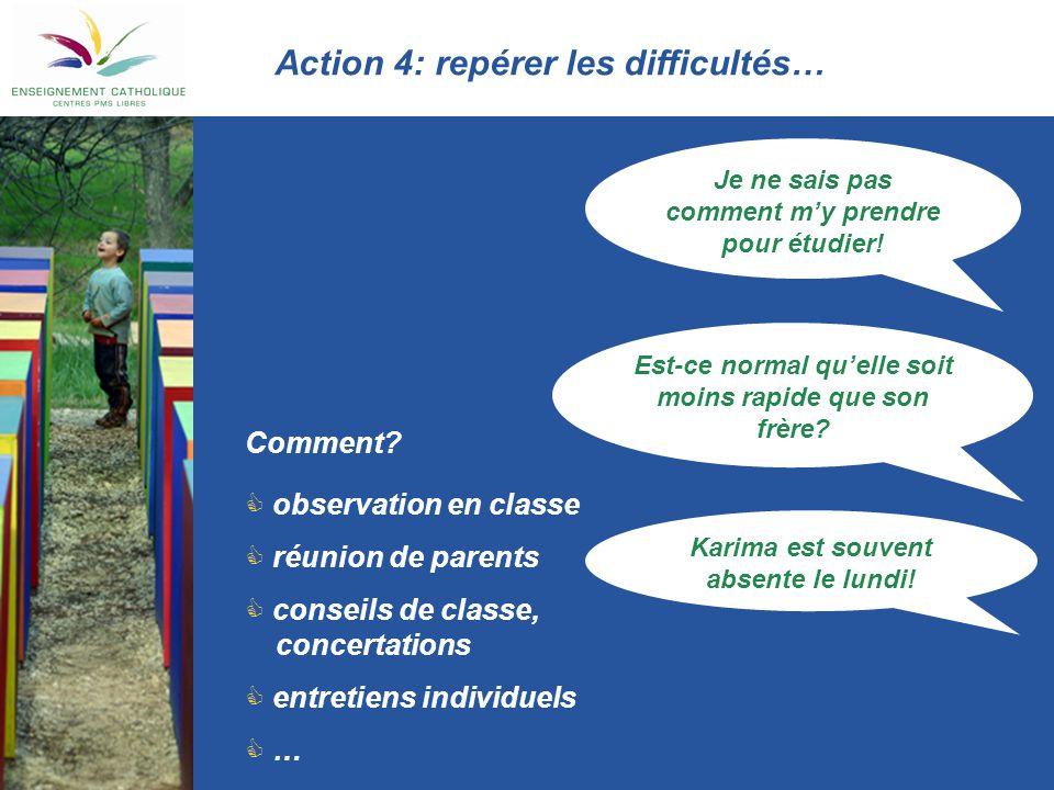 Action 4: repérer les difficultés…