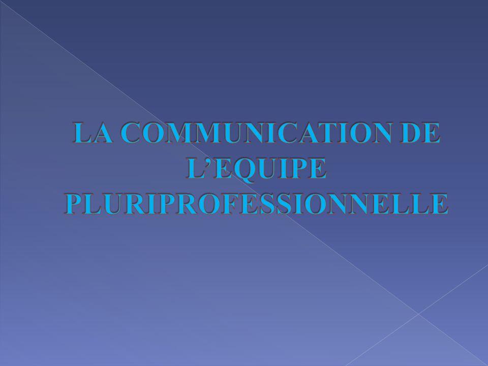 LA COMMUNICATION DE L'EQUIPE PLURIPROFESSIONNELLE