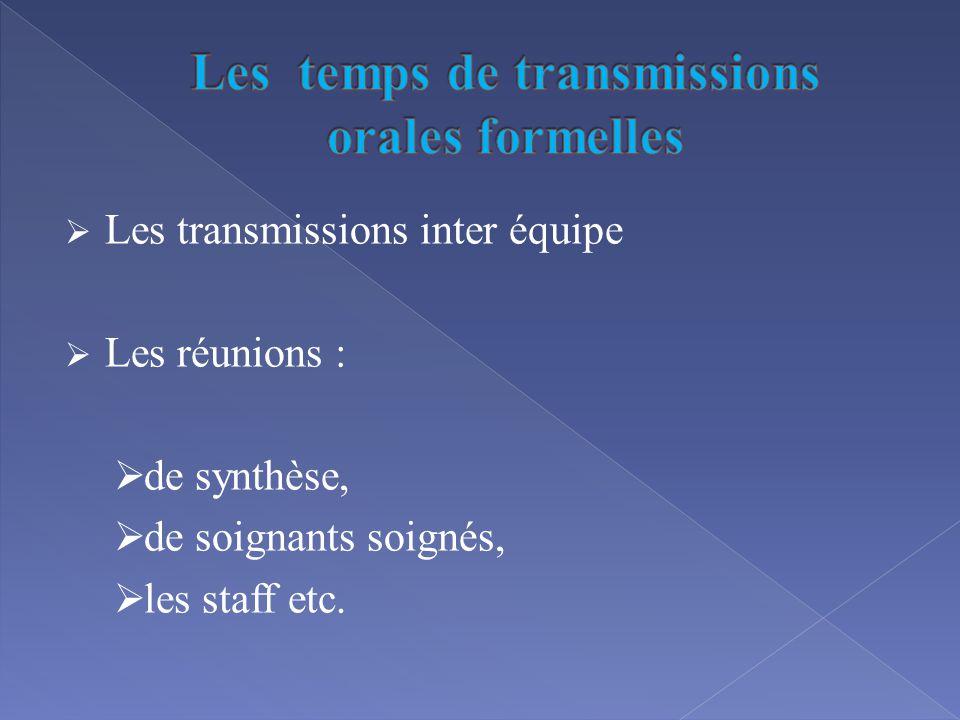 Les temps de transmissions orales formelles