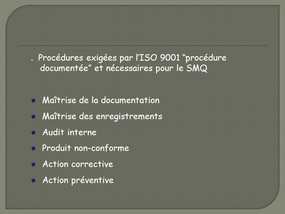 . Procédures exigées par l'ISO 9001 procédure documentée et nécessaires pour le SMQ