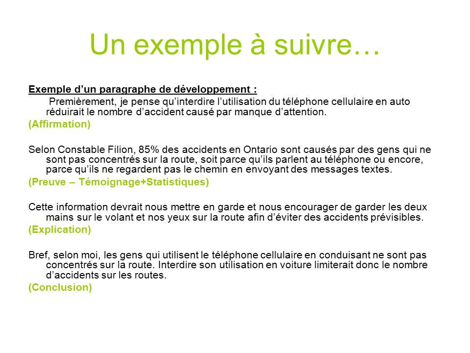 Un exemple à suivre… Exemple d'un paragraphe de développement :