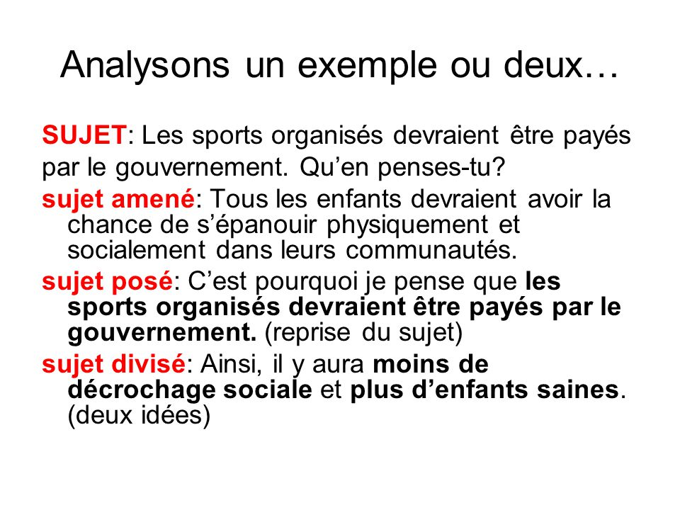 Analysons un exemple ou deux…