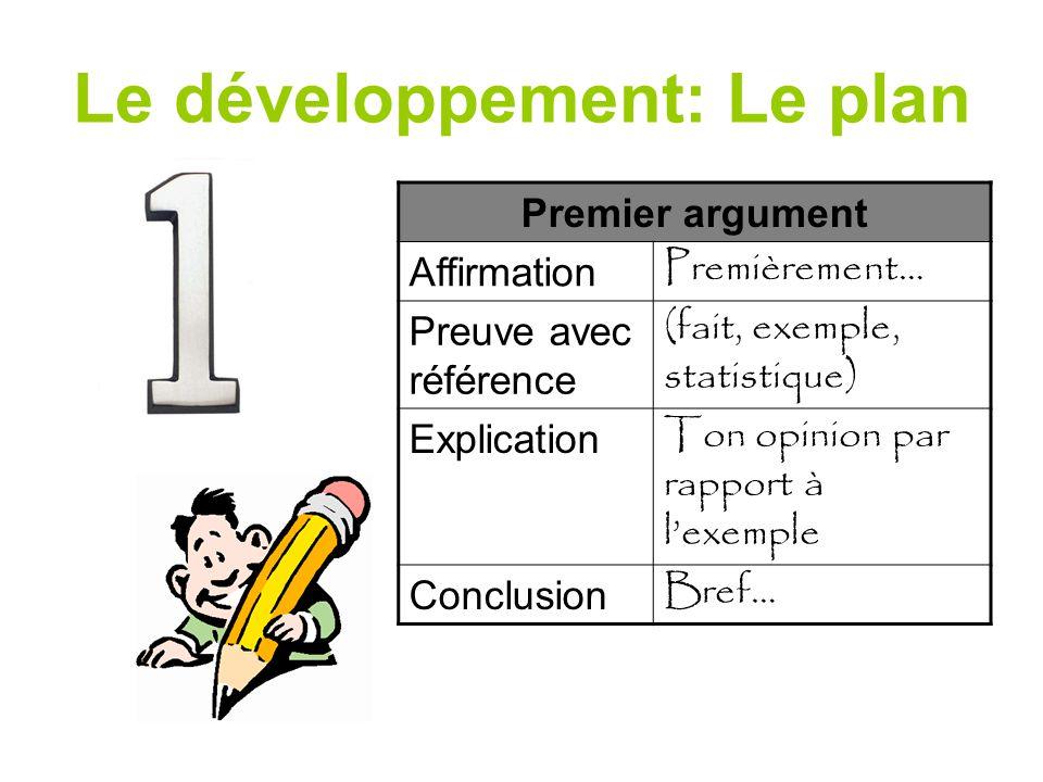Le développement: Le plan