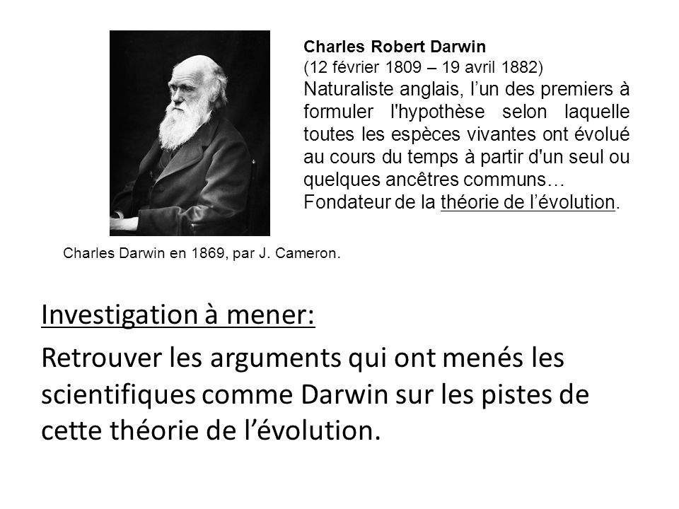 Charles Robert Darwin (12 février 1809 – 19 avril 1882)