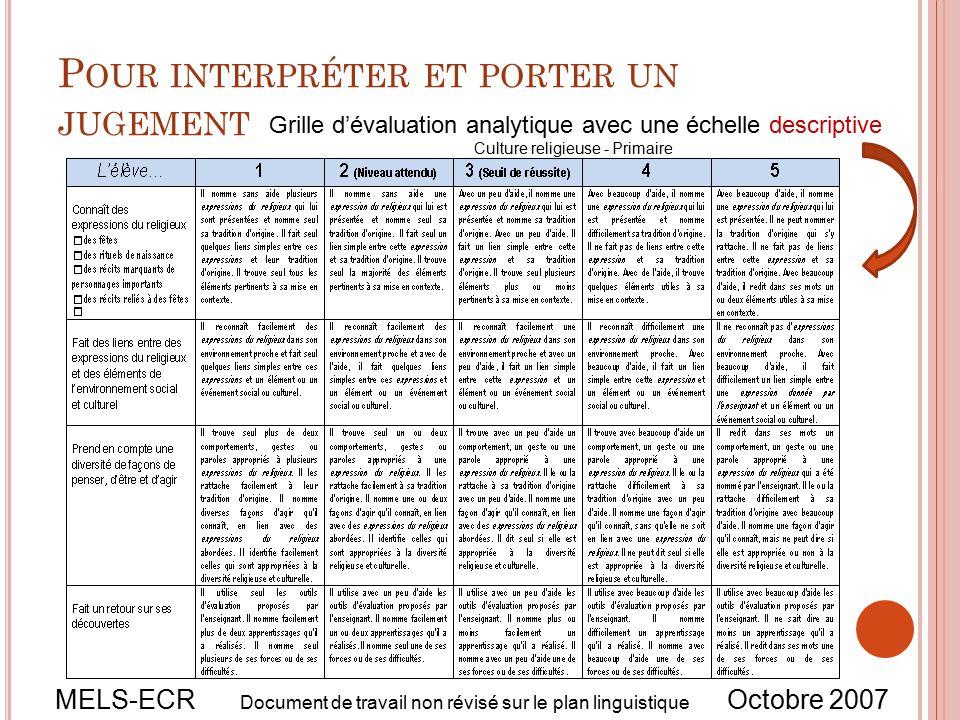 Document de travail non r vis sur le plan linguistique - Comment faire une grille d evaluation ...