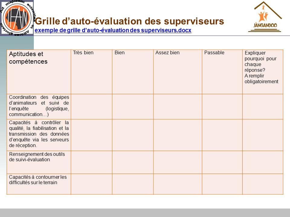 Formation aux outils de suivi valuation ppt t l charger - Grille d auto evaluation ...