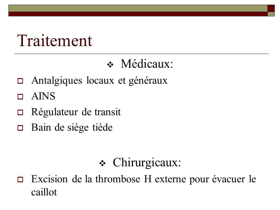 Traitement Médicaux: Chirurgicaux: Antalgiques locaux et généraux AINS