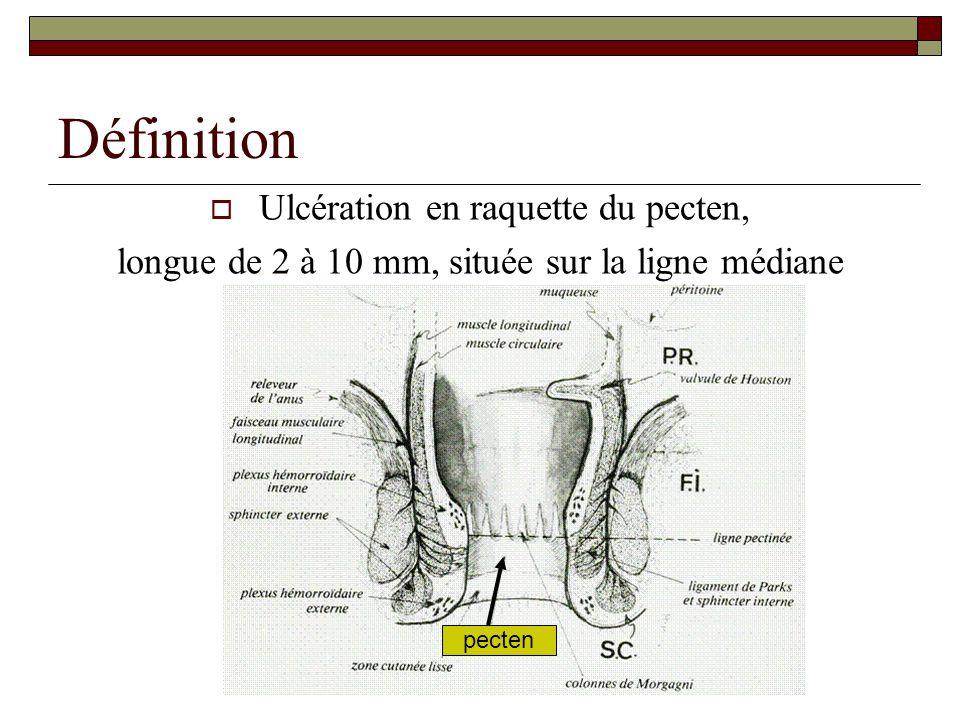 Définition Ulcération en raquette du pecten,