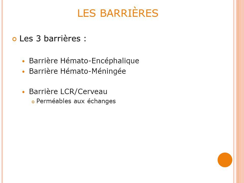 LES BARRIÈRES Les 3 barrières : Barrière Hémato-Encéphalique