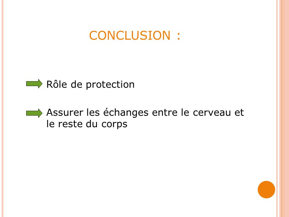 CONCLUSION : Rôle de protection