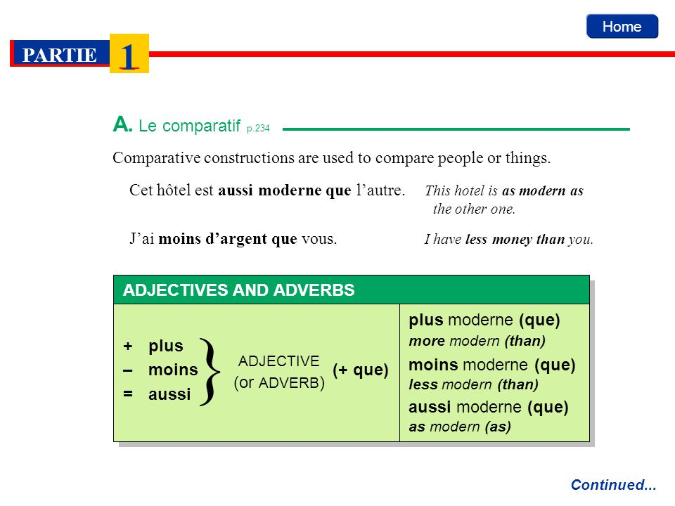 A le comparatif comparative constructions are used for Comparatif hotel