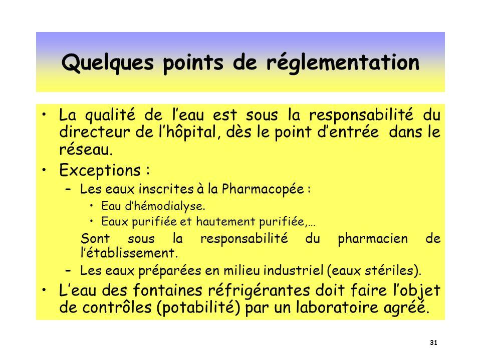 Quelques points de réglementation