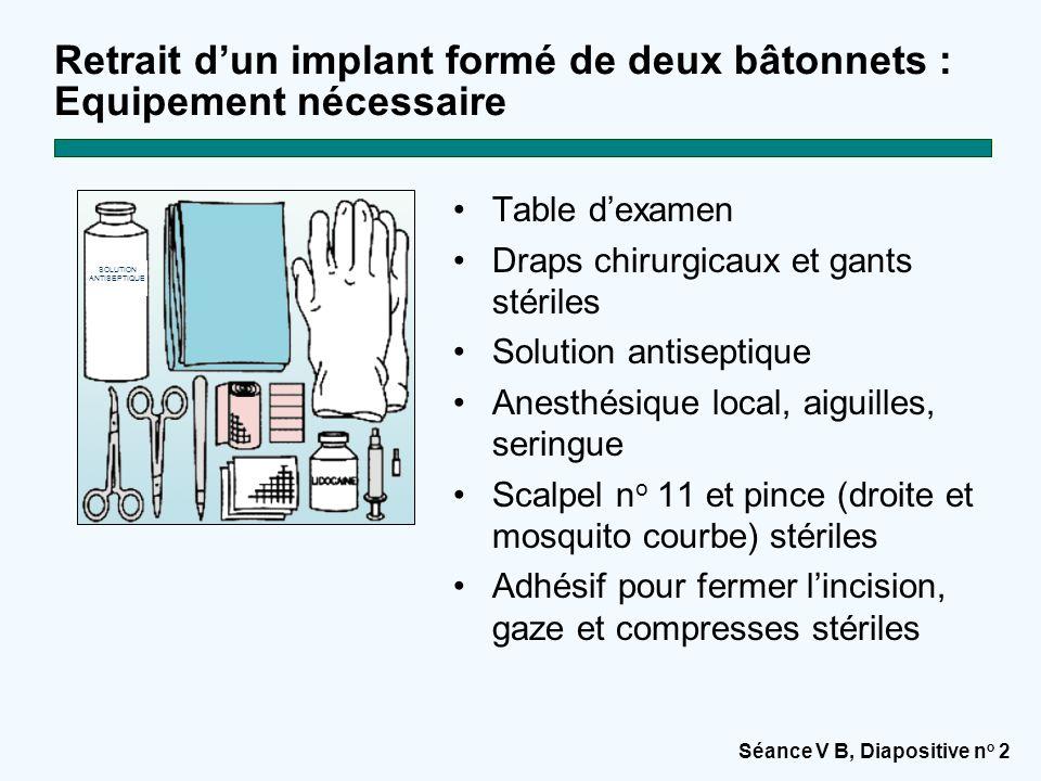 Retrait d'un implant formé de deux bâtonnets : Equipement nécessaire
