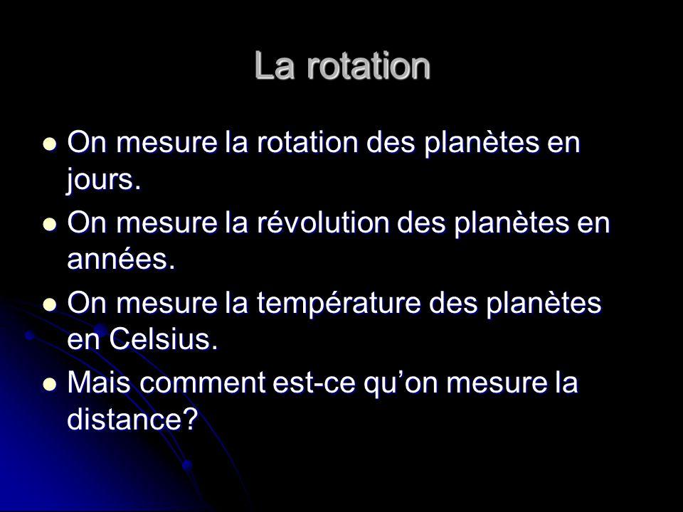 La rotation On mesure la rotation des planètes en jours.