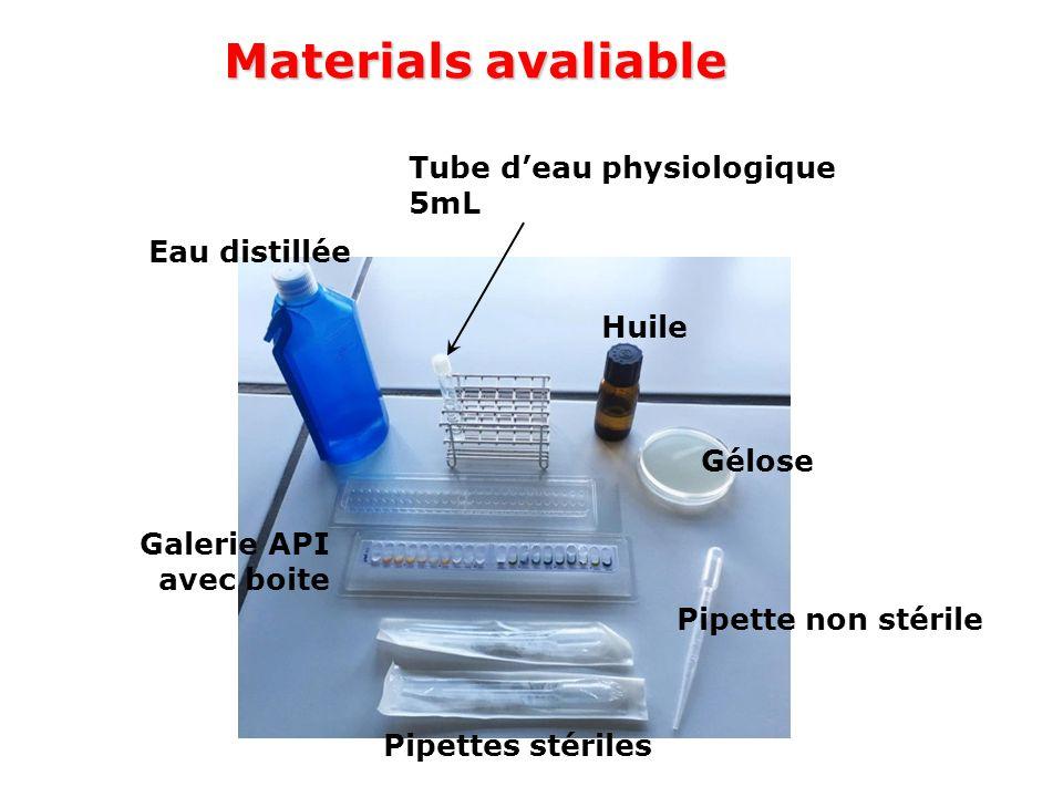 Materials avaliable Tube d'eau physiologique 5mL Eau distillée Huile