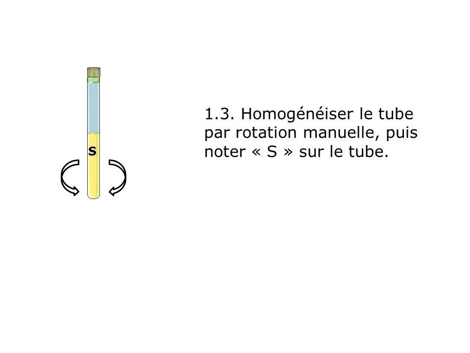 S 1.3. Homogénéiser le tube par rotation manuelle, puis noter « S » sur le tube.