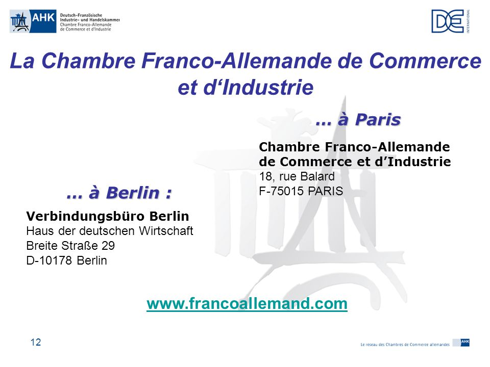 Les relations conomiques franco allemandes ppt t l charger for Chambre de commerce franco arabe paris