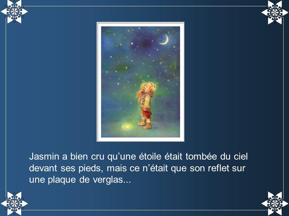 Jasmin a bien cru qu'une étoile était tombée du ciel devant ses pieds, mais ce n'était que son reflet sur une plaque de verglas...