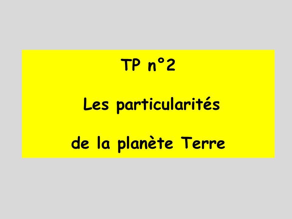 TP n°2 Les particularités de la planète Terre