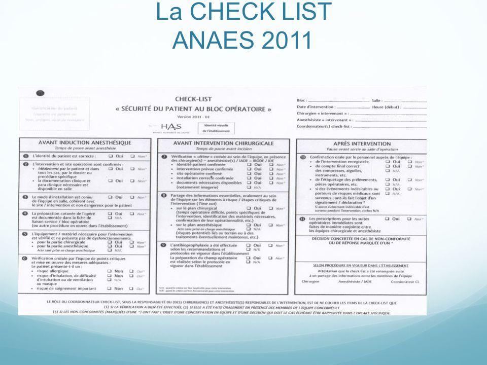 La CHECK LIST ANAES 2011