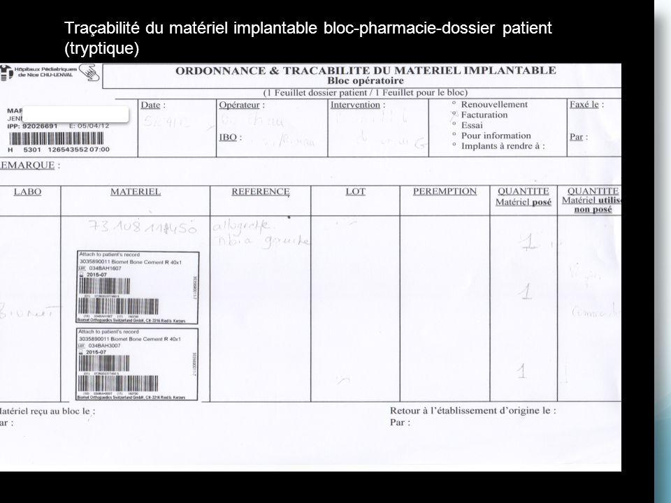 Traçabilité du matériel implantable bloc-pharmacie-dossier patient (tryptique)