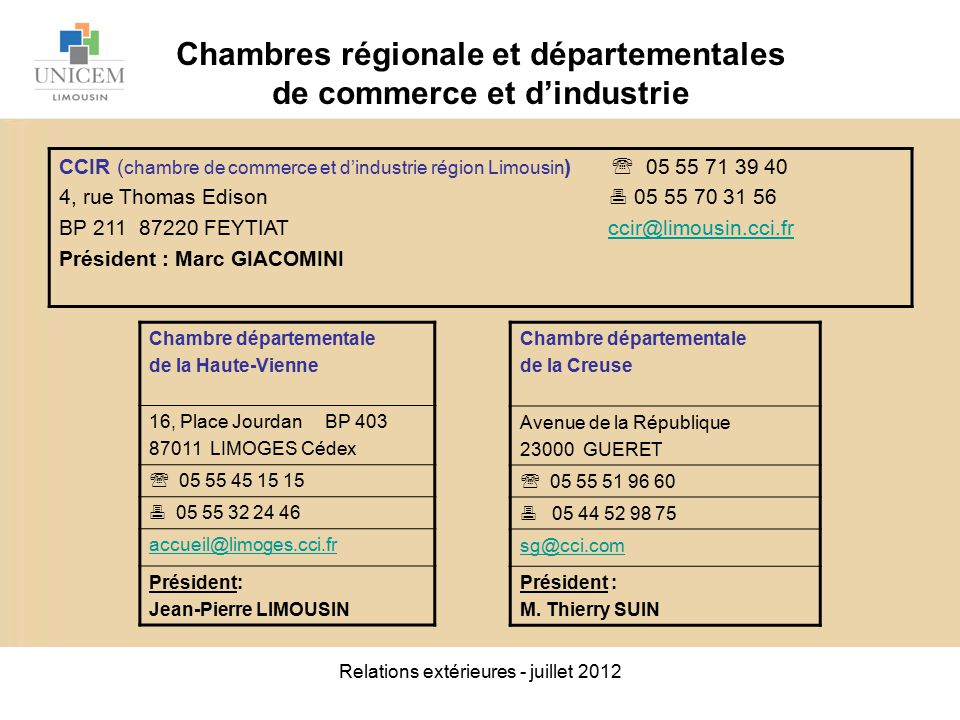 Relations ext rieures juillet ppt video online t l charger - Chambre regionale de commerce et d industrie ...