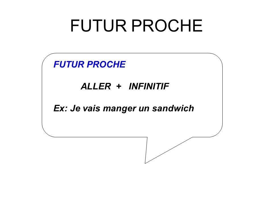 FUTUR PROCHE FUTUR PROCHE ALLER + INFINITIF