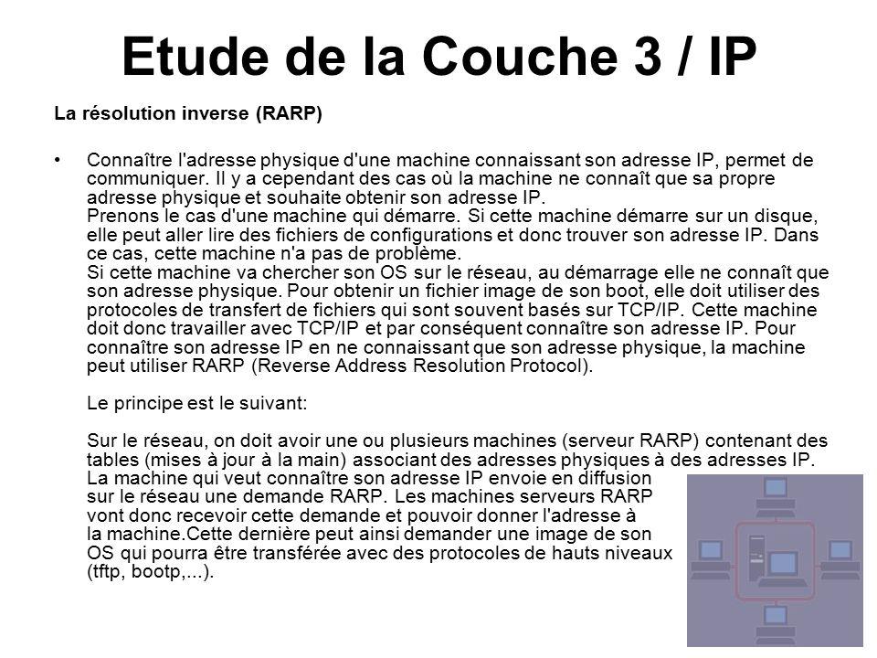 Etude de la Couche 3 / IP La résolution inverse (RARP)