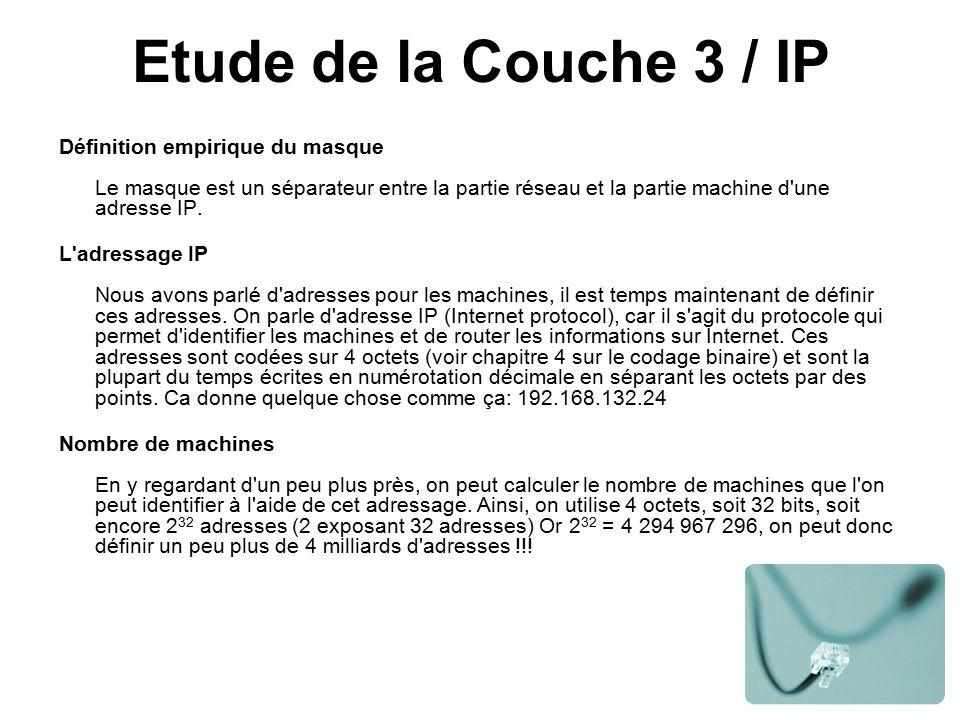 Etude de la Couche 3 / IP Définition empirique du masque Le masque est un séparateur entre la partie réseau et la partie machine d une adresse IP.