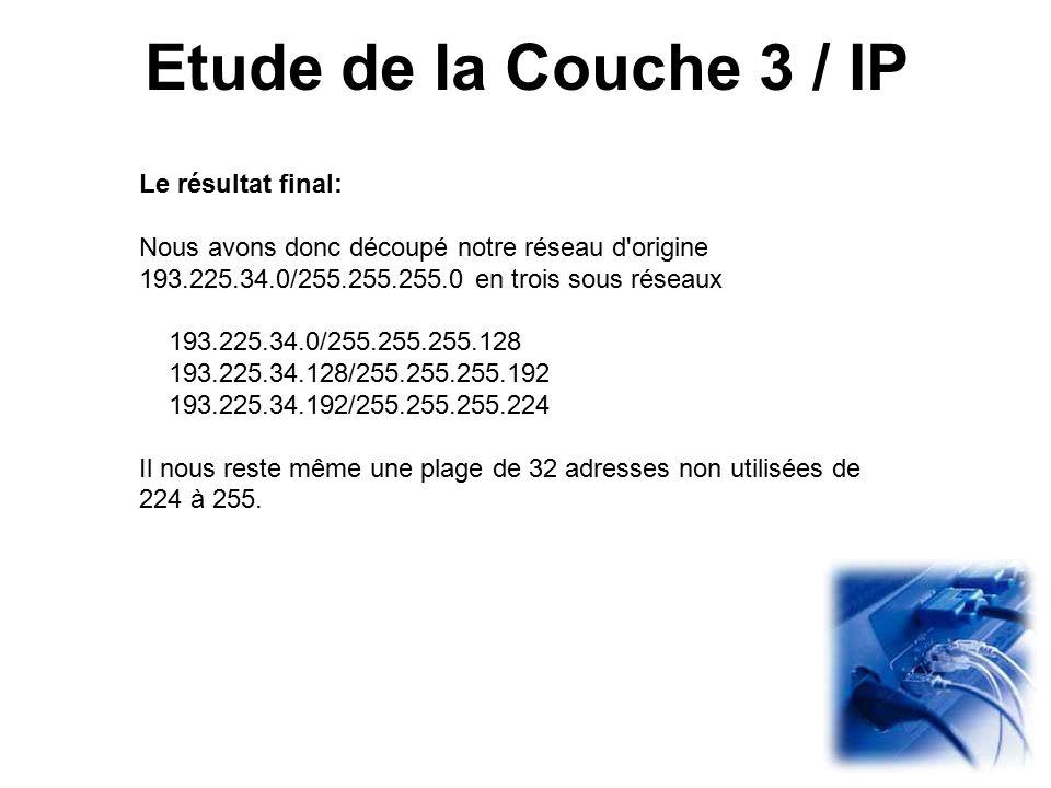 Etude de la Couche 3 / IP Le résultat final:
