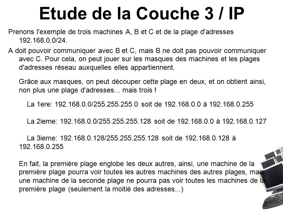 Etude de la Couche 3 / IP Prenons l exemple de trois machines A, B et C et de la plage d adresses 192.168.0.0/24.