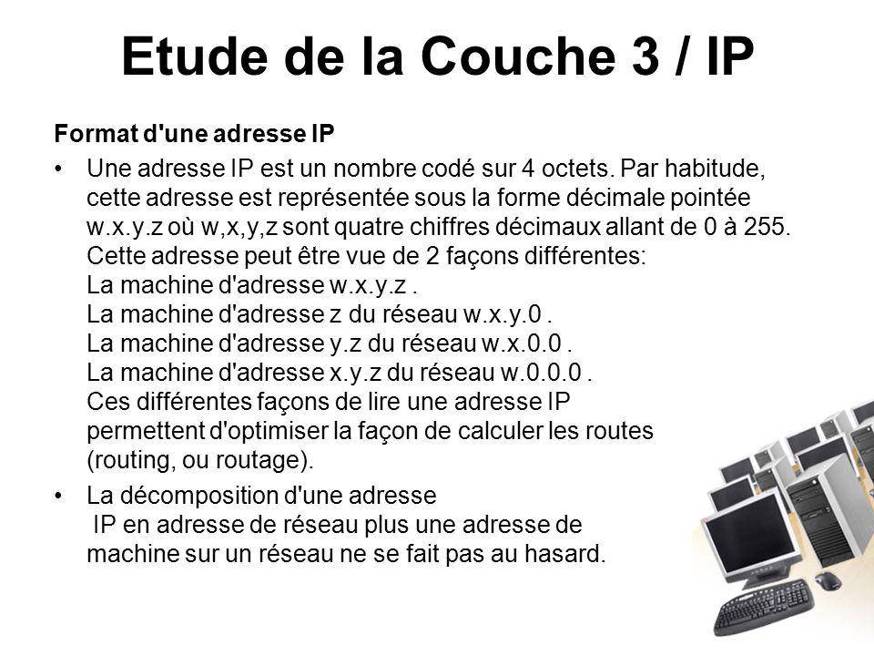 Etude de la Couche 3 / IP Format d une adresse IP