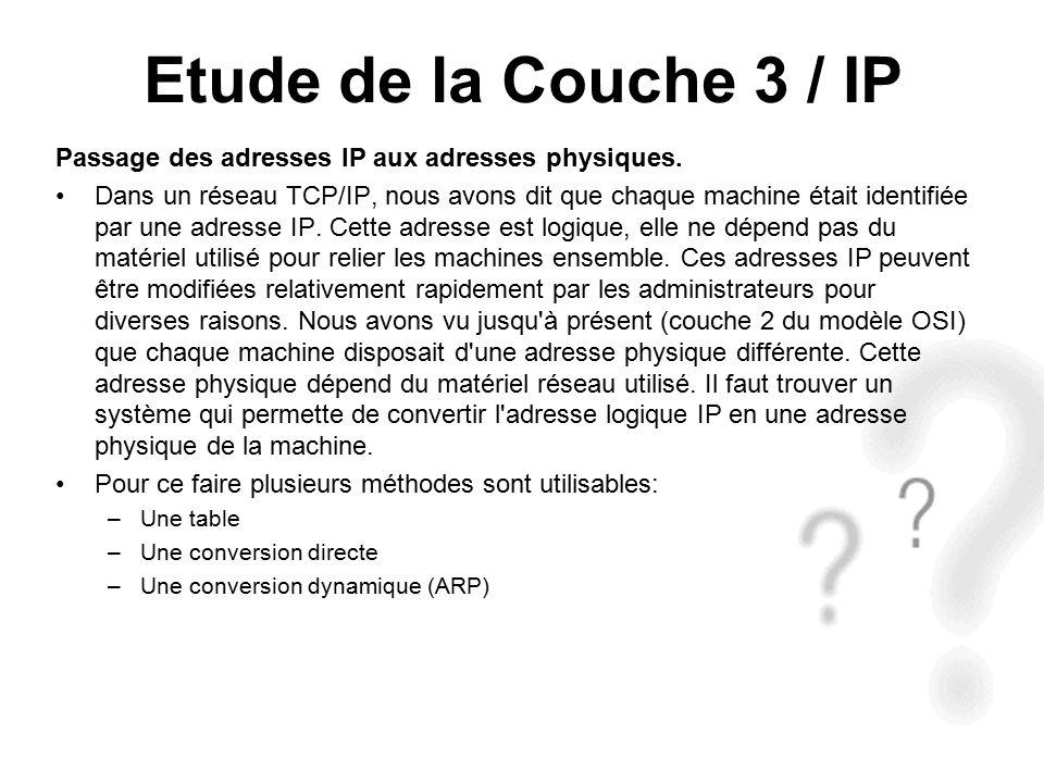 Etude de la Couche 3 / IP Passage des adresses IP aux adresses physiques.