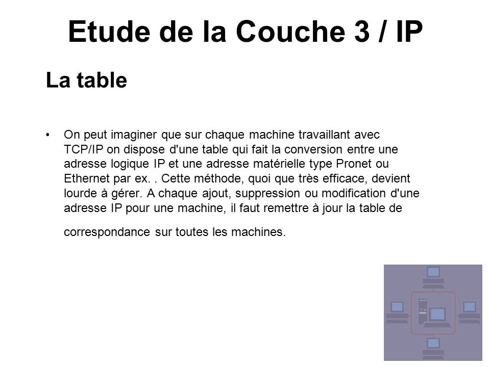 Etude de la Couche 3 / IP La table