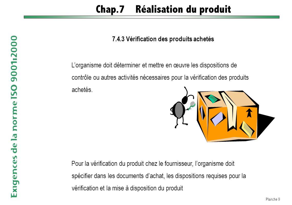 7.4.3 Vérification des produits achetés